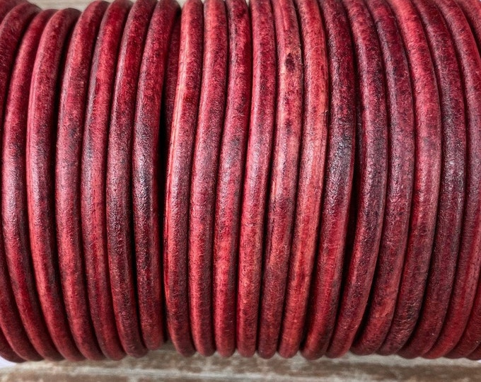 4mm Antique Gypsy Red Round Leather Cord Premium Quality 4mm Round Leather Cord  LCR4 - Gypsy Red #15