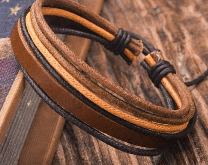 Adjustable Leather Braclet, Gift For Men and Women JLA-16