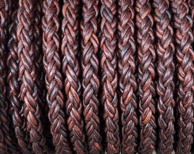 8mm Natural Antique Brown Bolo Braided Leather Cord 8 Ply 2mm Premium European Leather Cord 1 Foot - LCBR - 1A