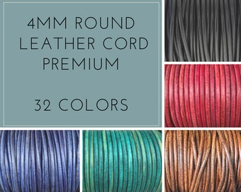 4mm Round Leather Cord Round Premium Quality 4mm Leather Cord LCR4