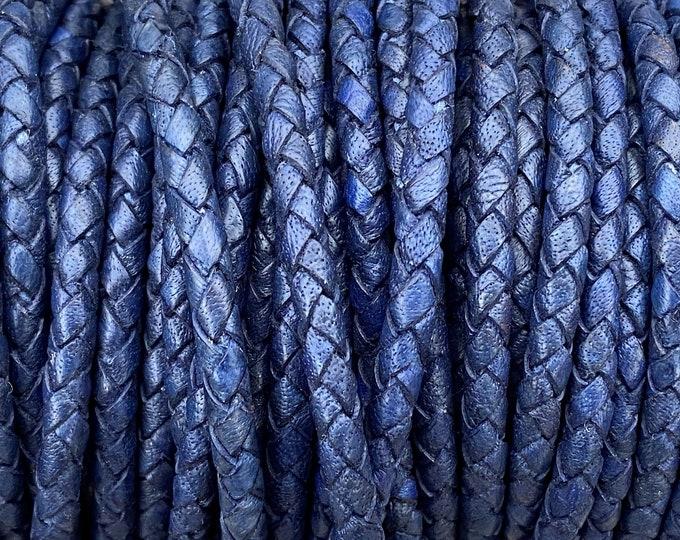3mm Premium Bolo Braided Leather - Dark Denim - Bolo Braided Leather Cord  By The Yard - LCBR 3  Dark Denim #12