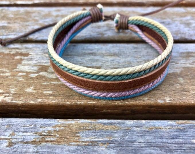 Leather Bracelet Womens Leather Braclet Gift For Her Hemp Bracelet Girlfriend Gift Under 10  JLA17A