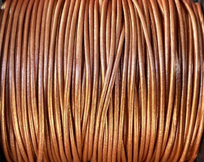 1mm Leather Cord - Metallic Bronze - Premium European Leather Cord - LCR1 - 200 #5 Metallic Bronze