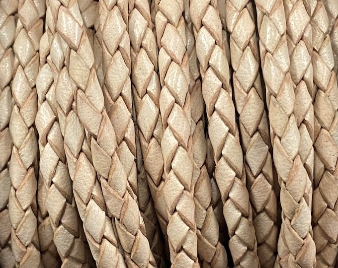 3mm Natural Bolo Braided Leather Cord Premium German Quality Smooth and Flexible All Leather By The Yard  LCBR - 3  Natural #G