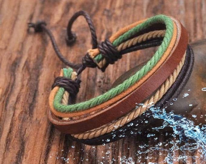 Leather Bracelet, Mens Bracelet, Bracelets For Men, Leather and Hemp Adjustable Bracelet, Birthday Gift JLA-19A