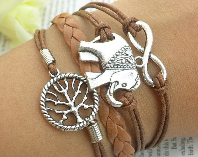 Womens Bracelet Vegan Brown Leather Bracelet Elephant Infinity Tree of Life Charms Silver Color Friendship Braclet CH-41