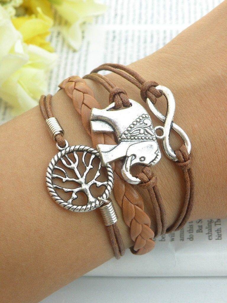 84796ab29647c Womens Bracelet Vegan Brown Leather Bracelet Elephant Infinity Tree ...