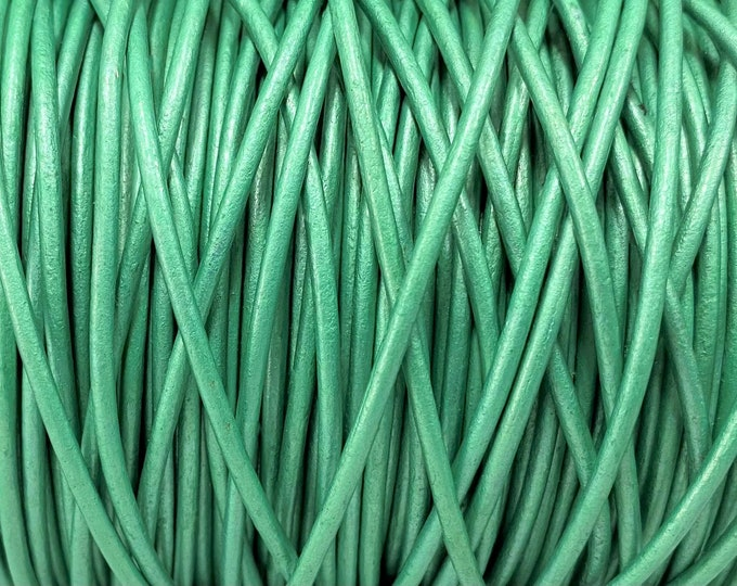 1.5mm Metallic Mink Green Round Leather Cord  By The Yard Mint Green 1.5mm Round Leather Cord LCR1.5 - 1.5mm Metallic Mint Green #79