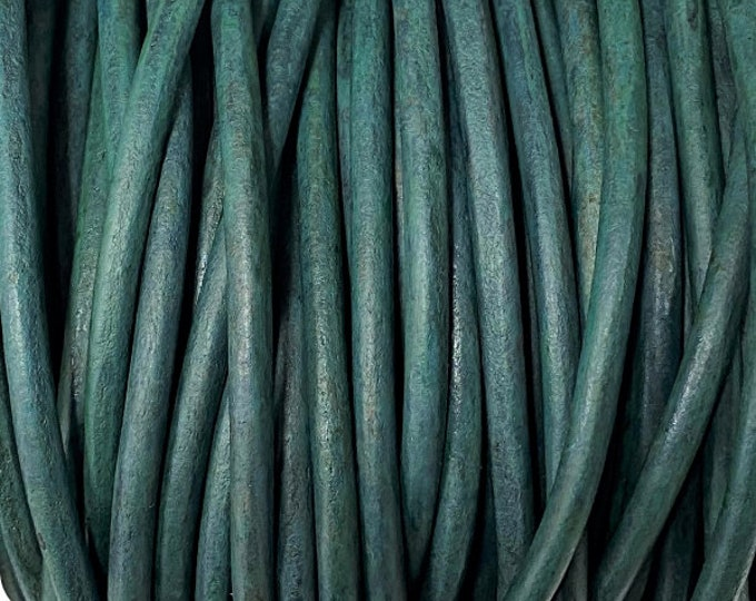 4mm Distressed Teal Round Leather Cord Premium Quality 4mm Round Leather Cord  LCR4 - Distressed Teal #33
