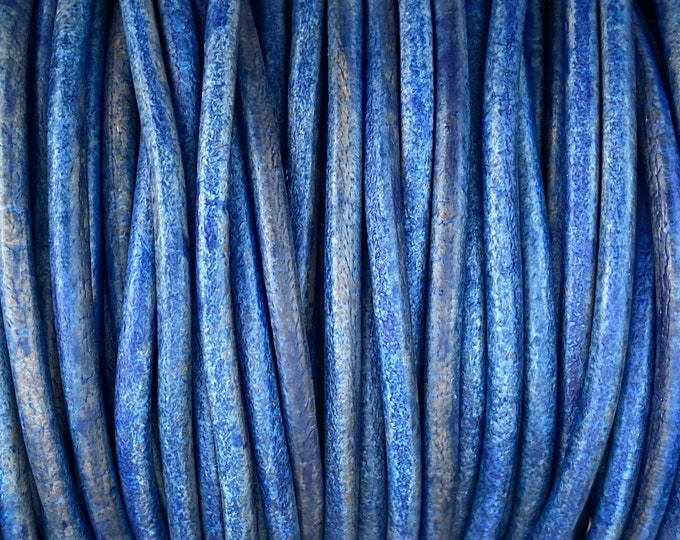 4mm Natural Blue Round Leather Cord Premium Quality 4mm Round Leather Cord  LCR4 - Natural Blue #6