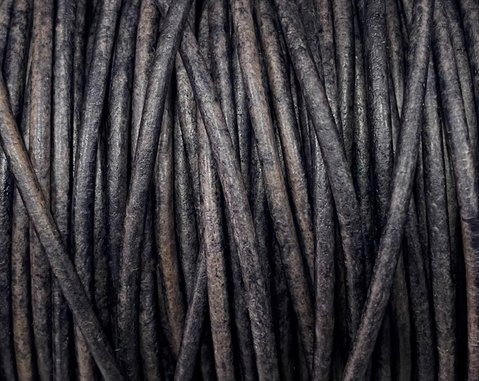 1.5mm Gray Distressed Round Leather Cord 1.5mm Premium Leather, LCR1.5 - 1.5mm Gray Distressed #91P