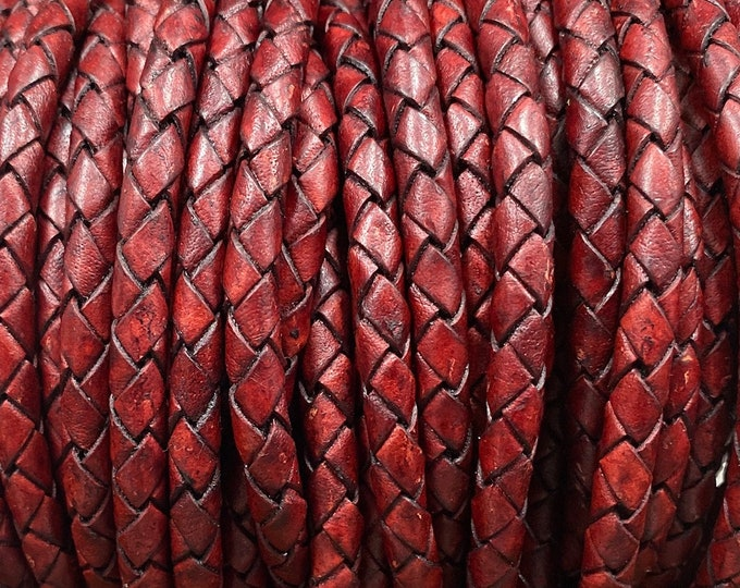 6mm Braided Leather - 6.5mm Antique Red - Bolo Braided Leather Cord By The Yard - LCBR - 6 Antique Red #16
