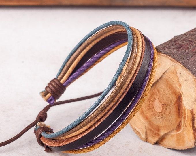 Leather Bracelet For Women, Boyfriend Girlfriend Jewelry, Mens Bracelet, Leather Bracelets, His and Hers Braclets,  JLA-61
