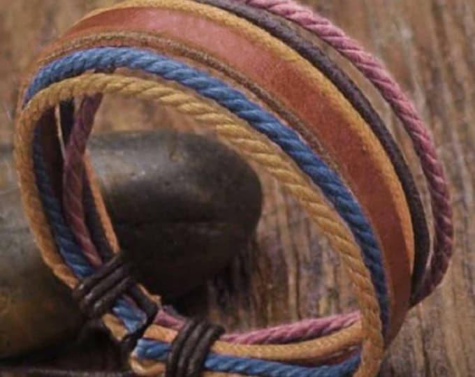 Leather Bracelet, Mens Bracelet, Hemp Bracelet, Men's Leather Bracelet, Women's Leather Braclet JLA-31