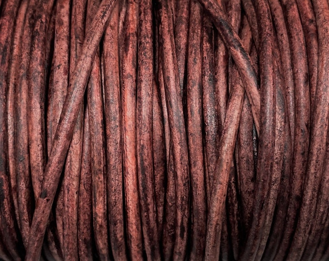 6mm Vintage Rust Red Round Leather Cord Premium Quality 6mm Round Leather Cord  LCR6 - Vintage Rust Red