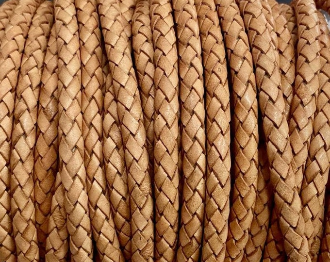 3mm Premium Bolo Braided Leather - Natural Tan - Bolo Braided Leather Cord  By The Yard - LCBR 3  Natural Tan #18