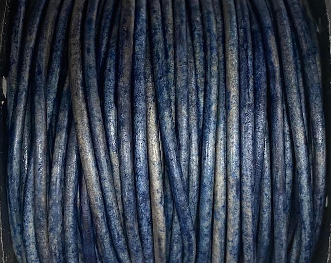 1.5mm Natural Dark Blue Brown Leather Cord, Premium European Leather Cord By The Yard LCR1.5 - 1.5mm Natural Dark Blue Brown #90P