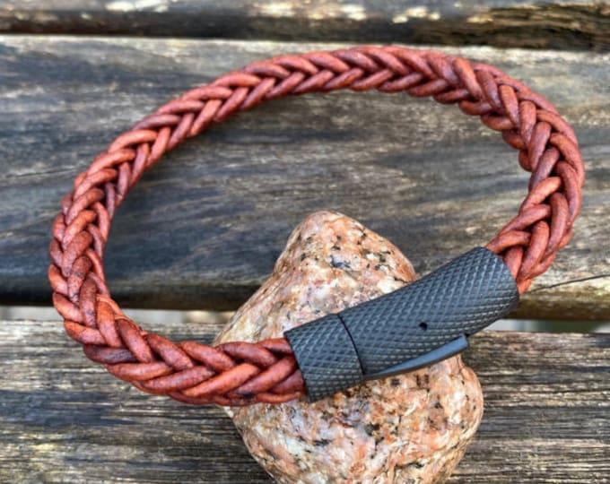 Mens Leather Bracelet, 8mm Premium Square Braided 8 Ply European Leather, Mens Bracelet, Masculine Leather Bracelet, Christmas Gift