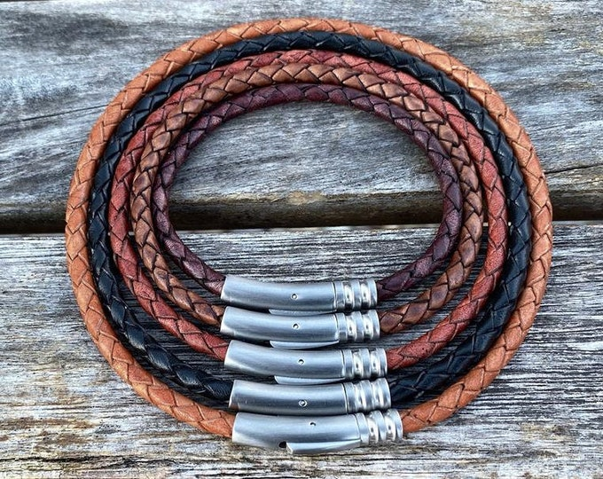 Leather Necklace, 4mm Braided Leather Necklace, Premium Braided Bolo Leather Cord Necklace, Stainless Steel Clasp, FREE SHIPPING