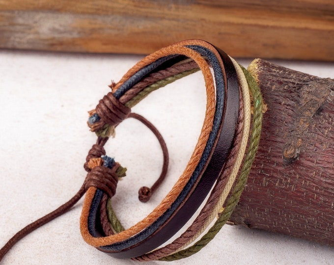 Unisex Leather and Hemp Bracelet - This Adjustable Bracelet Is Made To Order To Your Wrist Size -  Gift JLA-75