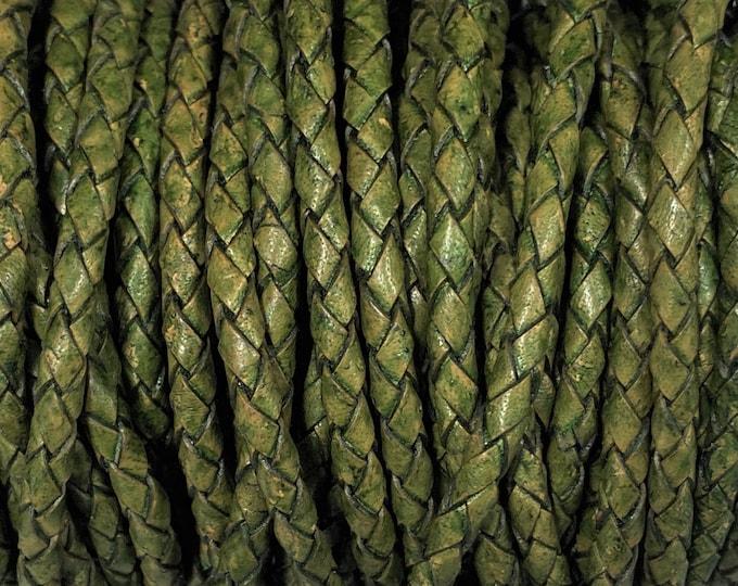 4mm Bolo Braided Leather - Leaf Green - Bolo Braided Leather Cord  By The Yard - LCBR 4  Leaf Green #9
