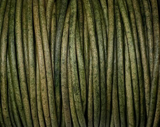 2mm Natural Dark Green Round Leather Cord Choose 1 yard to 25 Yards Premium European Leather LCR2 - Natural Dark Green #92P
