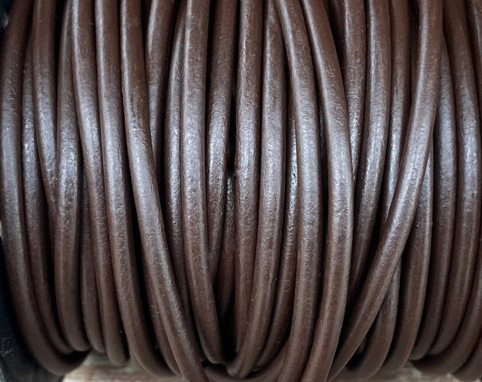 4mm Coffee Brown Round Leather Cord, Premium 4mm Round Leather Cord  LCR4 - Coffee Brown #5
