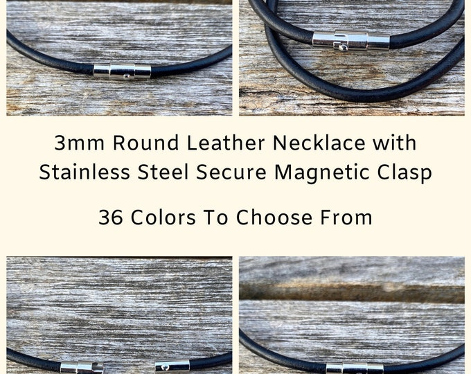 3mm Round Leather Necklace with Stainless Steel Secure Magnetic Clasp, Leather Choker, Wrap Bracelet, Leather necklace, 36 Colors