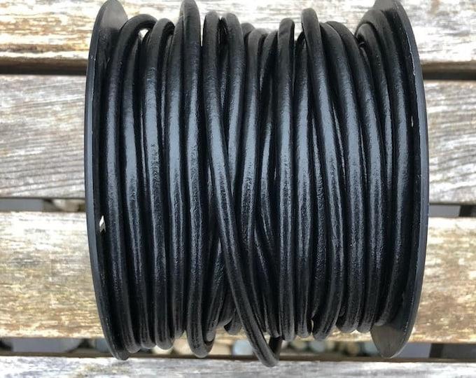 4mm Black Round Leather Cord Premium Quality 4mm Round Leather Cord  LCR4 -  #1A   Black