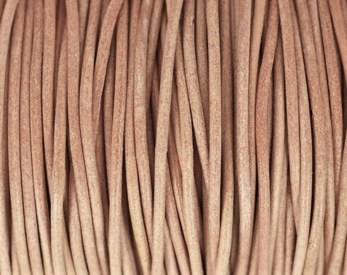 1mm Leather Cord - Natural - Premium European Leather Cord - LCR1 - 200 #10 Natural