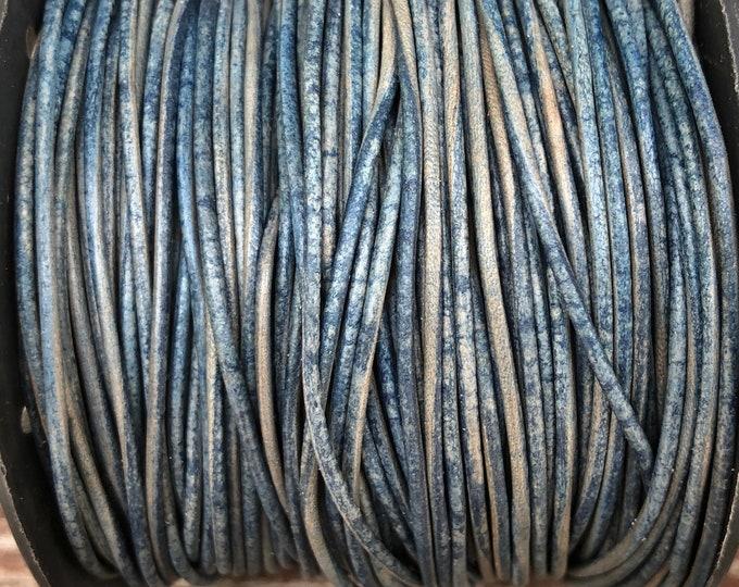 1mm Leather Cord - Natural Blue- Premium European Leather Cord - LCR1 -200 Natural Blue #4