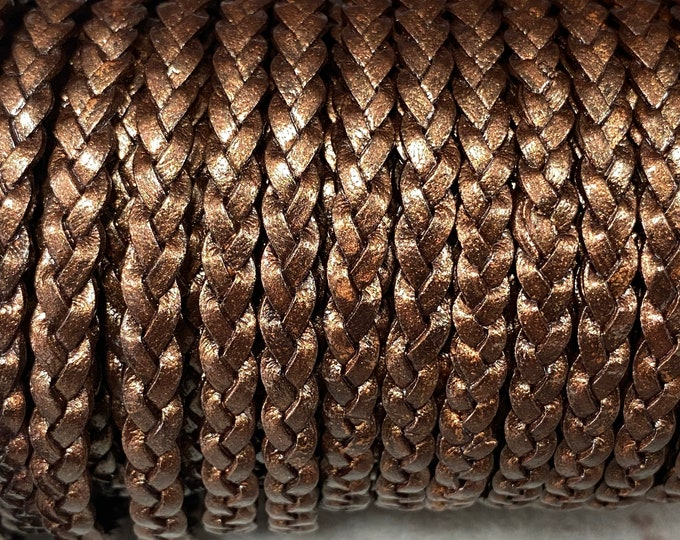5mm Brown Metallic Flat Braided Leather Cord -By the Yard. - Genuine Indian Leather - LCF5 - 5mm Flat Braided Metallic Brown