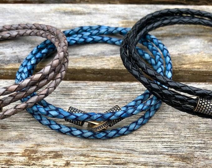 Triple Wrap Thin Braided Leather Bracelet With Oxidized Bronze Clip Clasp, , Gift Under 20 CS-42