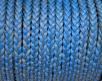 5mm Natural Blue Flat Braided Leather Cord - By the Yard - Genuine Indian Leather - LCF5 - 5mm Premium Natural Blue
