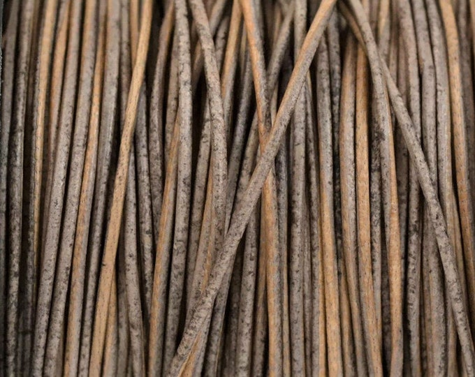 1mm Leather Cord - Natural Gray Brown - Premium European Leather Cord - LCR1 -200  #8 Natural Gray Brown