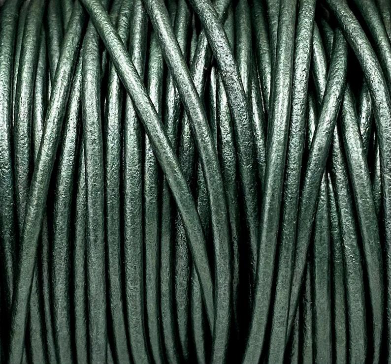 LCR2-2mm Metallic Dark Green #84 2mm Metallic Dark Green Leather Cord 2mm Premium European Soft Leather