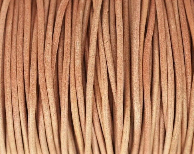 1.5mm Natural Round Leather Cord, Premium Quality European Leather Cord By The Yard, 1.5mm Leather Cord LCR1.5 - 1.5mm Natural #165P