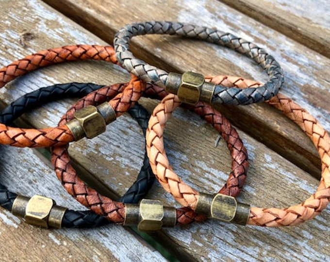 Mens bracelet leather mens leather bracelet gift for men braided bolo leather with magnetic clasp  CS-17