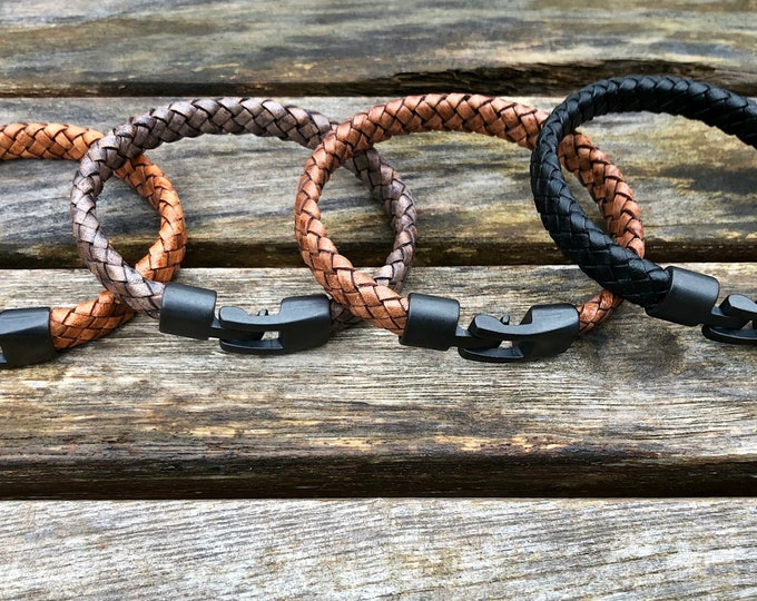 Mens Leather Bracelet Flat Braided Leather Bracelet 8 Ply Flat Mens Bracelet Mens Jewelry Mens Gift Gift Under 20 CS-40 BlackClasp