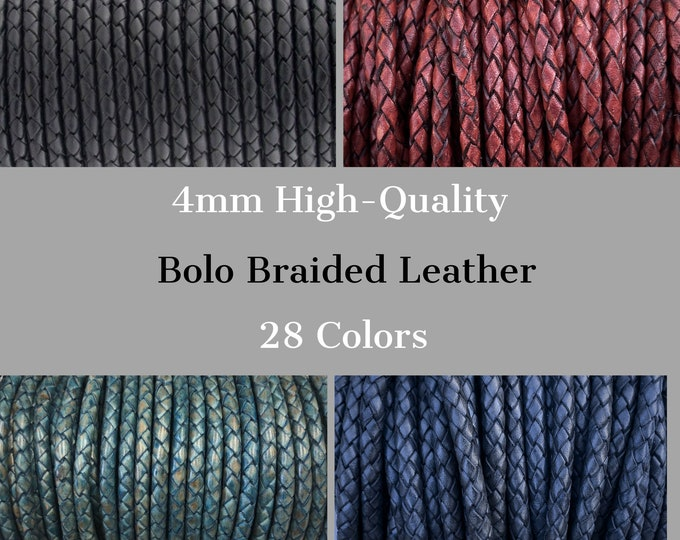 4mm Braided Leather Cord, 4mm Round Braided Leather - 28 Colors - 4mm Bolo Braided Leather Cord  By The Yard - LCBR - 4mm