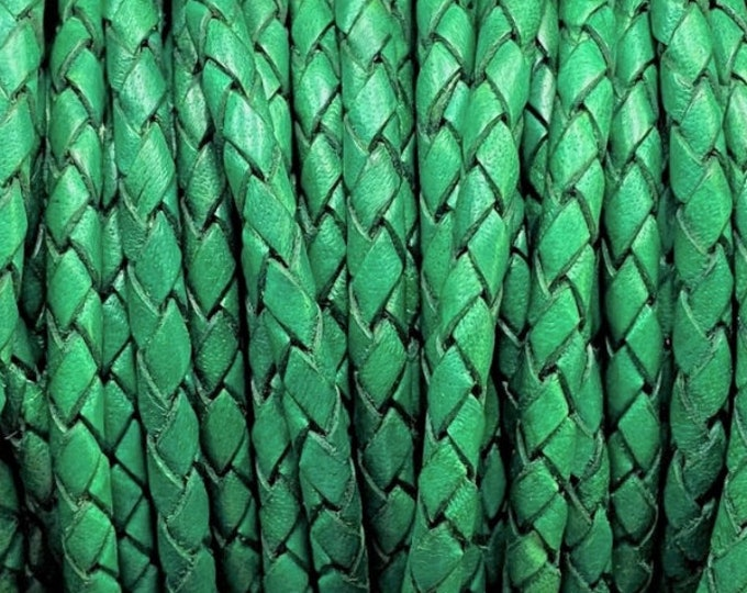 3mm Braided Leather - Green - Bolo Braided Leather Cord  By The Yard - LCBR - 3  Green #27