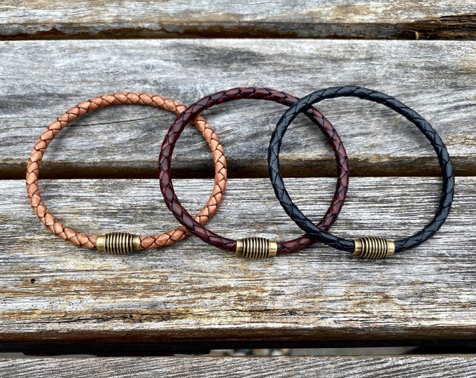 Thin Braided Men's Leather Bracelet With Brass Magnetic Clasp Available In Four Colors CS-19