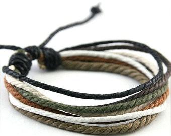 Handmade Hemp Adjustable Bracelet Multi Color Vegan Gift Mothers Day Gift HB-2