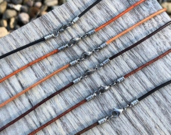 Premium Quality 2mm Leather Necklace With Optional Bail Bead 2mm Black leather Cord Stainless Steel Lobster Clasp FREE SHIPPING 45 Colors