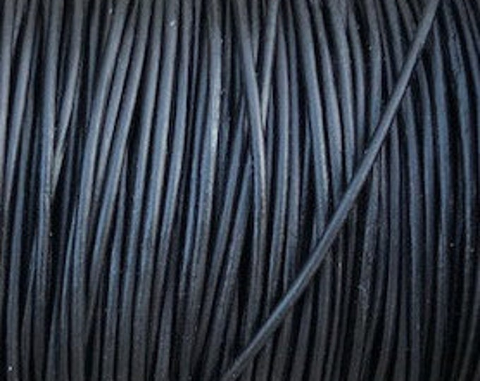 1mm Leather Cord - Natural Black- Premium Leather Cord - LCR1 -200  #7 Natural Black