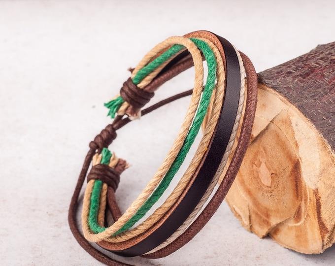 Mens Bracelet, Mens Gift, Leather Bracelet Men, Mens Leather Bracelet, Boyfriend Gift, Gift For Him, , JLA-72