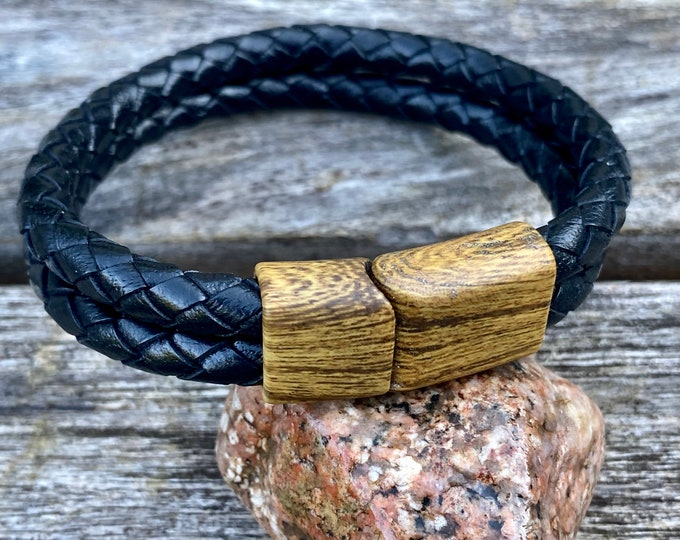 Mens Leather Bracelet With a Wood Color Magnetic Clasp, Double Strand Bracelet, Boyfriend Gift, Gift For Him,  , CS-107