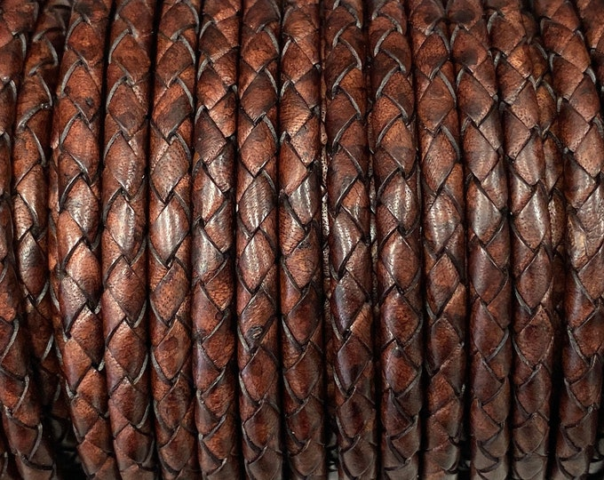 5.5mm Bolo Braided Leather Cord, Natural Antique Brown Premium Indian Leather Cord, By The Yard, LCBR5 - Natural Antique Brown #5
