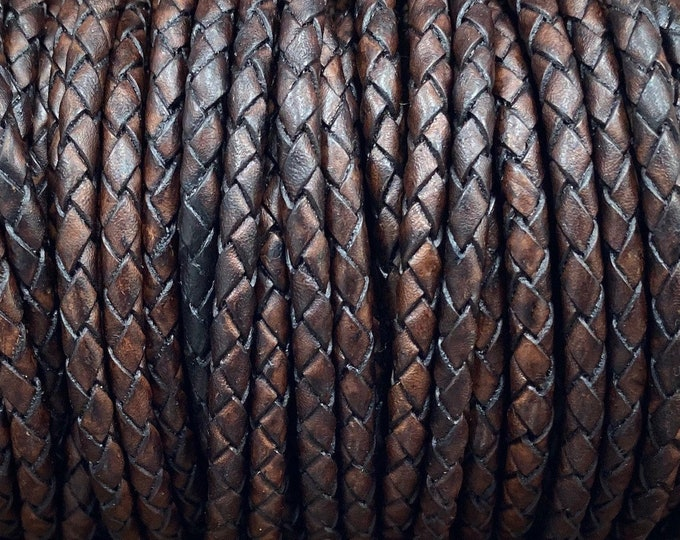 6mm Braided Leather - Dark Brown - Bolo Braided Leather Cord By The Yard - LCBR - 6 Dark Brown #7