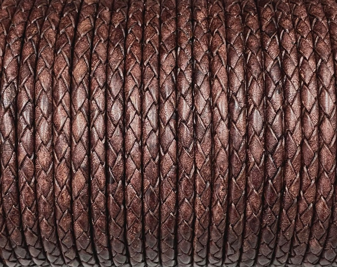 4mm Natural Antique Brown Bolo Braided Leather Cord Premium German Quality All Leather By The Yard  LCBR - 4  Natural Antique Brown #J